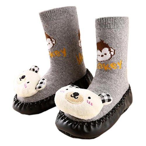 Leap Frog  Anti-slip Floor Socks, Baby Mädchen Krabbelschuhe & Puschen Bear Gray