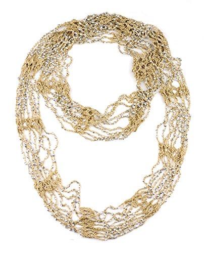 NYFASHION101 Silver-Tone Beaded Skinny Fishnet Infinity Loop Scarf - Gold