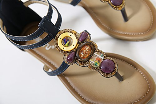 Bohemian Sandals Womens Navy Sandals Heel Beads D2C Back Thong Beauty Low Zipper wvPFBBqZE
