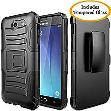 Galaxy J3 Emerge, Galaxy J3 2017, J3 Prime, J3 Mission, J3 Eclipse, Express Prime 2, Amp Prime 2, Sol 2, Luna Pro, JATEN Hybrid Case Kickstand Belt Clip + Tempered Glass (Red/Black)