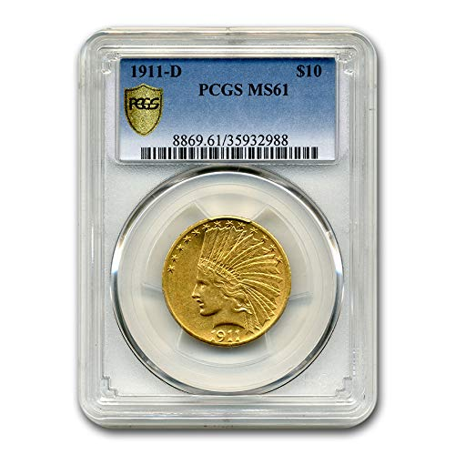 1911 D $10 Indian Gold Eagle MS-61 PCGS G$10 MS-61 PCGS