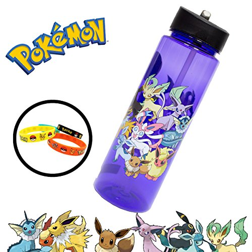 Pokemon Go Eevee Evolve Evolution Waterbottle with Straw & 4-Pack Bracelets - Great for Camping Sports Birthday Party School Backpacks - Vaporeon Jolteon Flareon Umbreon Leafeon Sylveon Glaceon Espeon