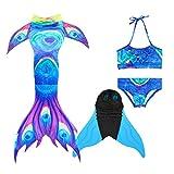XonyCos Kids Girls Newest Mermaid Tail Flipper Swimming Tail Swimsuits Swimwear Water Party Dress 4pcs Sets