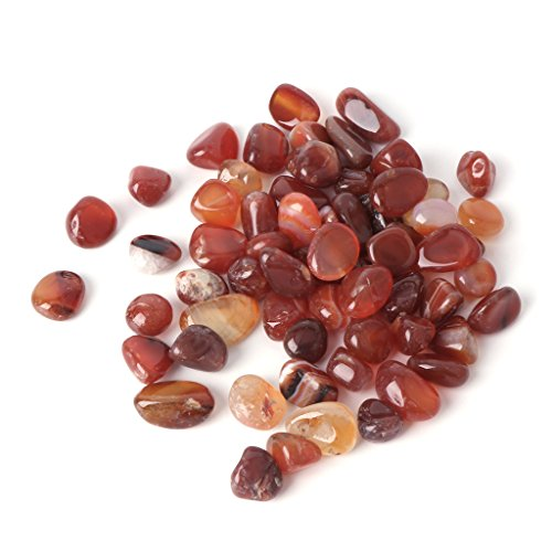 (LANDUM Natural Stone Aquarium Fish Tank Decoration Crystal Agate Colorful Pebble Gravel Red Agate)
