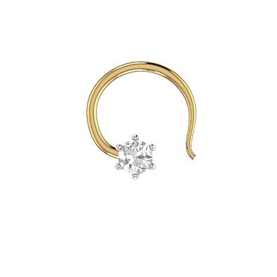Round Cut Diamond 14K Yellow Gold Fn Engagement Nose Piercing Ring Pin Stud