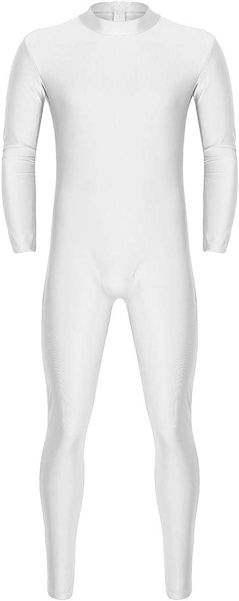 freebily Mens Turtleneck Lycra Spandex Long Sleeve One Piece Dancewear Unitard Leotard Bodysuit