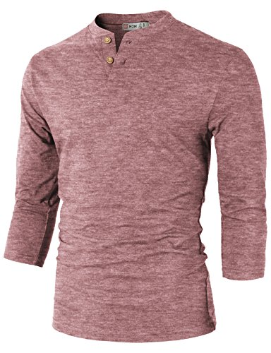 (H2H Mens Slim Fit Henley T-Shirts Maroon US M/Asia L (CMTTS0194))
