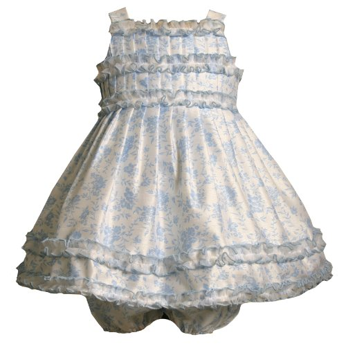 Bonnie Jean Baby/Infant Girls 2-Piece BLUE IVORY PLEATED BODICE FLORAL SHANTUNG Special Occasion Flower Girl EasterParty Dress, 12M-24M
