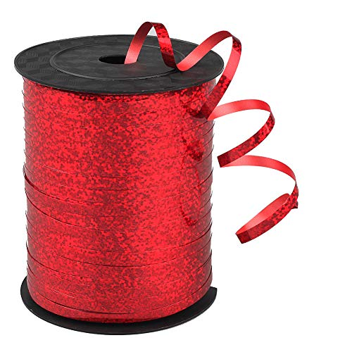 500 Yards Shiny Balloon Ribbons for Parties, Florist,Crafts and Gift Wrapping (red)