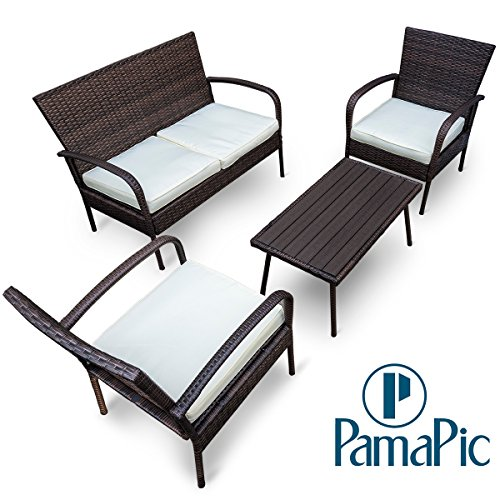 Cheap  Pamapic Outdoor 4Piece Patio Furniture Sets 【PS Board Table】, Brown Embossing PE..