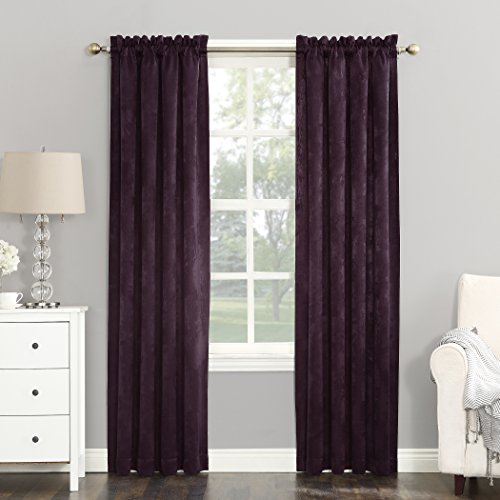 Curtains Eggplant (Sun Zero Cassidy Textured Velvet Blackout Rod Pocket Curtain Panel, 52