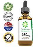 Full Spectrum Hemp Oil for Dogs and Cats (250mg) – Grown & Made in USA – Supports Hip & Joint Health, Natural Relief for Pain, Separation Anxiety – Organic Extract – Non-GMO