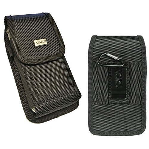 Huawei Ascend XT / Ascend Mate 2 / Mate 9 ~ Pouch Holster Black Tough Rugged Nylon Canvas Vertical/Horizontal Carrying Case With/ Duty Metal Belt Clip (Fits Phone With Protective Cover Or Naked Phone)