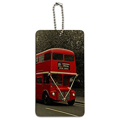 Double Decker Red Bus England Great Britain Wood ID Tag Luggage Card Suitcase