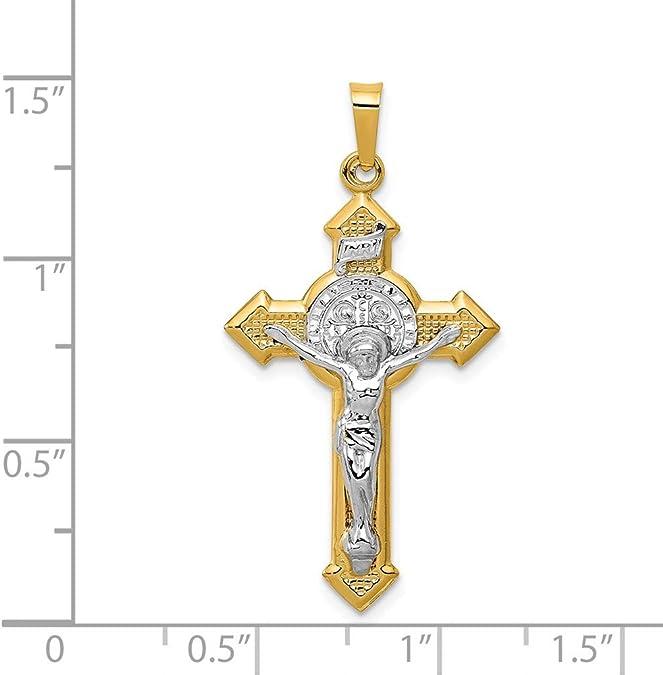 Mia Diamonds 14K 20mm White Gold Polished Satin with Cross Heart Locket