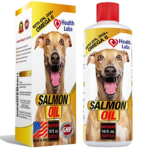 Omega 3 & 6 Salmon Oil Liquid for Dogs and Cats - 100% Pure Natural Organic Fish Oil Supplements for Pets - Unscented Formula With EPA DHA - For Healthy Skin and Shiny Coats - 16oz - 100% Satisfaction