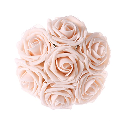 Ling's moment Artificial Flowers 50pcs Blush Real Looking Artificial Roses w/Stem for Wedding Bouquets Centerpieces Party Baby Shower Decorations DIY - Blush Wedding Shower Decor