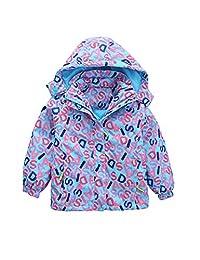Zhhmeiruian Girls 3 in 1 Waterproof Fleece Ski Jacket Snow Hooded Coats Warm