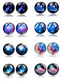 Thunaraz 8 Pairs Unisex Stainless Steel Stud Earrings Galaxy Astronomy Earrings for Girls Boys