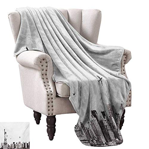 WinfreyDecor Urban Decorative Throw Blanket Cityscape of New York City Famous Statue of Liberty and Skyscrapers Drawing Print Sofa Chair 60