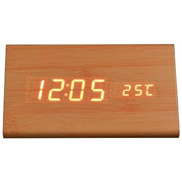 KHSKX Salón Creativa Moderna y Simple Reloj Madera, Reloj Despertador Digital, Mudo Reloj, Relojes de Noche luz de Noche, Bronze: Amazon.es: Hogar