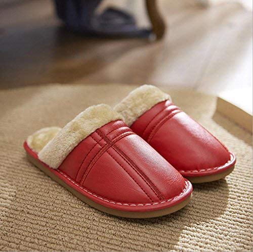 1 JaHGDU Ladies Thermal Slipper Casual Faux-Leather Slippers Large Size Super Soft Plush Home Indoor Wear-Resistant Classic Slippers