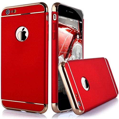 iPhone 6S Plus Case, Asstar Luxury Fashion Four Corner Ultra-thin 3 in 1 Metal Shock Resistant Protection Hard PC Back Case Cover for Apple iPhone 6S Plus / 6 Plus (Red)