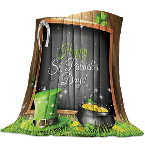 - Flannel Fleece Throw Blankets for Bed/Couch, Soft Warm Fuzzy Plush Microfiber All-Season Lightweight Sofa Blanket Stadium Throws - Twin 50x60 Inch Happy St. Patrick's Day Clover Hat and Gold Coin
