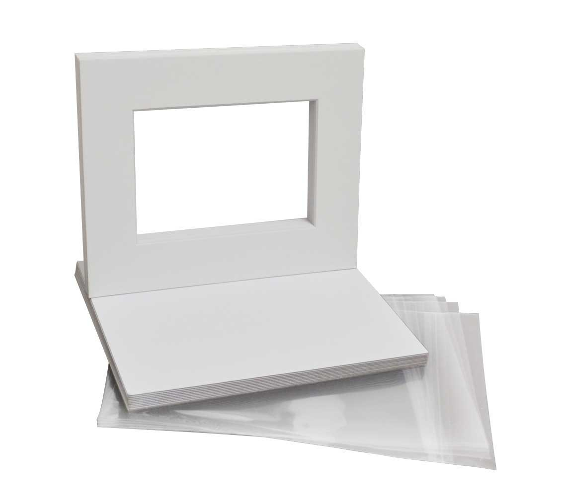 Golden State Art Includes 10 High Premier Acid Free Mats /& 10 Backing Board /& 10 Clear Bags Pack of 10 White Pre-Cut 8x10 Picture Mat for 5x7 Photo with White Core Bevel Cut Mattes Sets