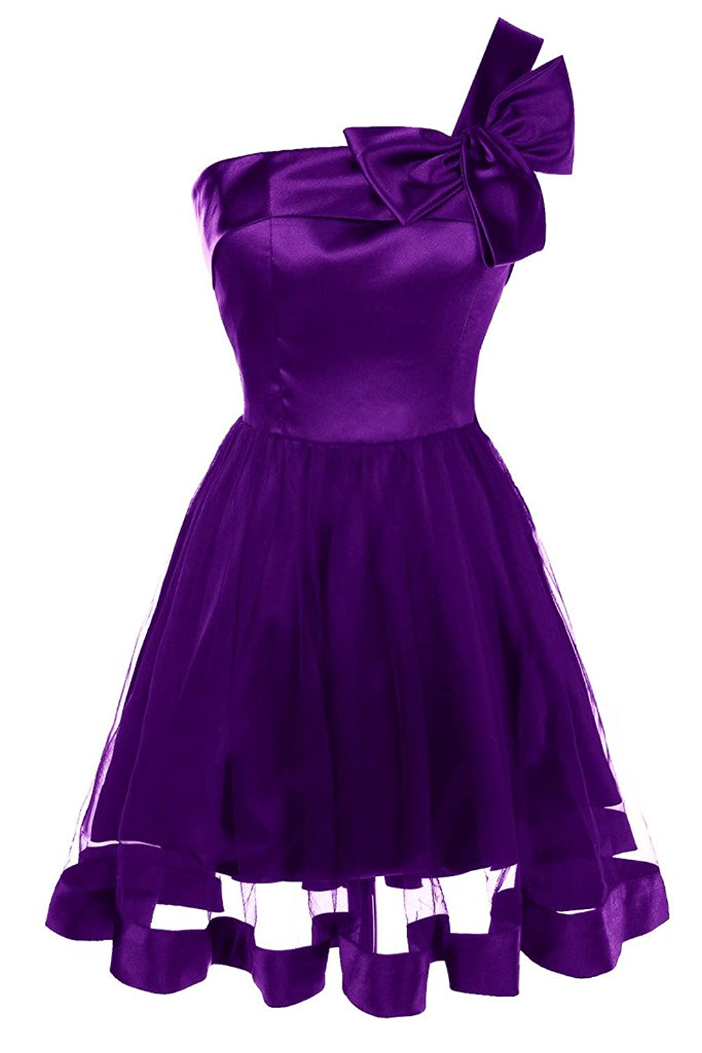 Topdress Women's One Shoulder Short Prom Dress with Bow Homecoming Dresses