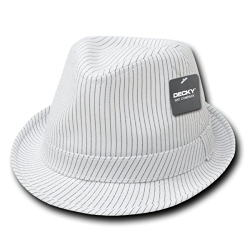 (Classic Poly Woven Pinstripe Fedora Hat with Hat Bands - WHITE WHITE - L-XL)