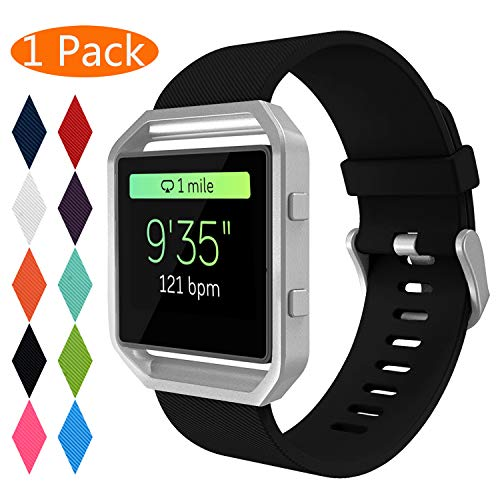Fitbit Blaze Bands, KingAcc Soft Accessory Replacement Band for Fitbit Blaze, with Metal Buckle Fitness Wristband Strap Women Men (1-Pack, Black, Small) [No Frame]