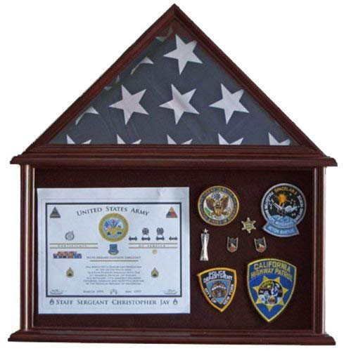 Military Shadow Box Flag Display Case Stand Frame for 4' X 6' Flag Exclusive (Mahogany Finish)