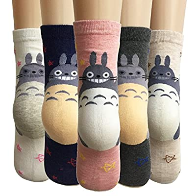 Cat Fan related Products Oureamod Cartoon Animal Womens Girls Cotton Crew Socks 5 Pack [tag]