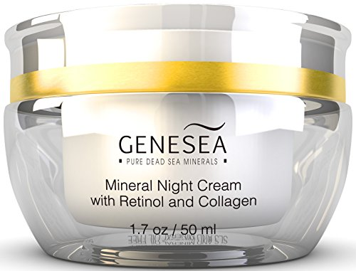 Genesea Hydrating Mineral Night Cream with 2.5% Retinol & Collagen - Helps Improve the Appearance of Fine Lines, Wrinkles & Dry Texture - Premium anti aging skin care facial moisturizer, Paraben Free
