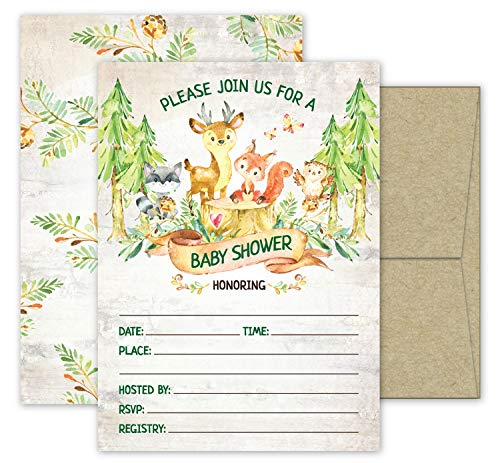 Deluxe Woodland Creatures Baby Shower Invitations, Fox, Owl and Deer Forest Animals- 20 Gender Neutral Card Set Perfect for Boys or Girls, Double Sided Large 5 x 7