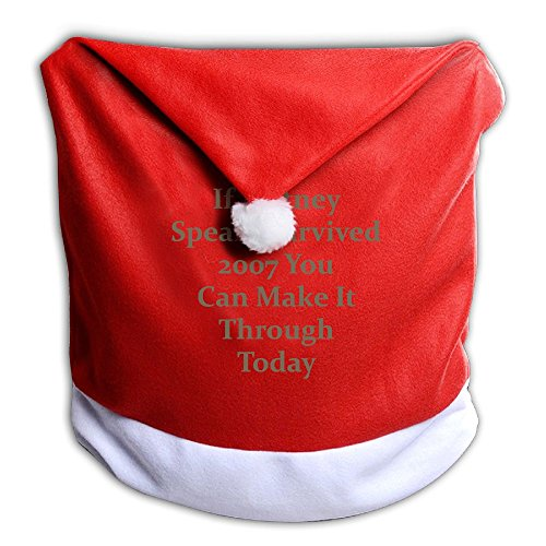 Christmas Seat Cover If Britney Spears Survived 2007 You Can Make It Through Today Cute Santa Clause Red Chair Hat 50x60CM - Cover Britney Spears