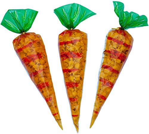 Cellophane Treat Bags - 50 Pack Carrot- Shaped Treat Bags 16