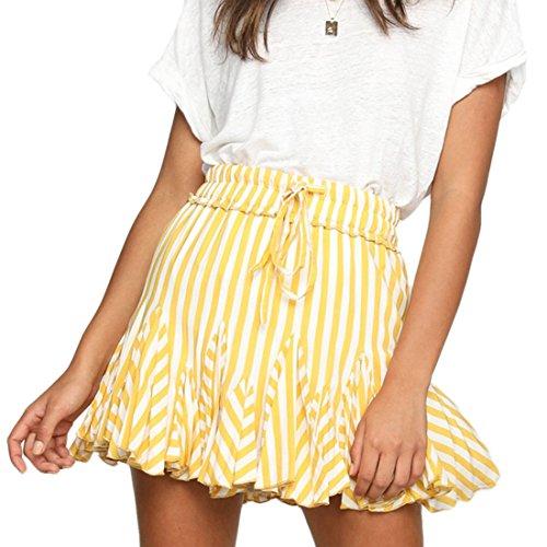 t Femmes Haute Taille Bandage Plage Mini Jupe Chic Fashion Raye Plisse Jupes de Party Soirees Jaune