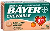 Bayer Chewable Low Dose Aspirin, 81 mg Tablets, Orange 36 ea (Pack of 12)