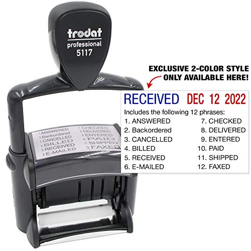 Trodat 5117 Professional 12-Message Stamp w/Dater, Self-Inking, Blue/Red 2 Color Ink ()