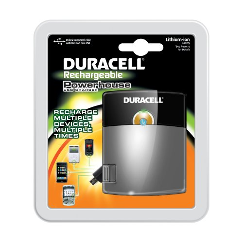 Duracell Powerhouse USB Charger with Lithium ion battery / includes universal cable with USB and mini USB, (Duracell Mobile Battery Charger)