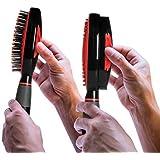 Self Cleaning Hair Brush - Easy Clean Retractable Bristles - Patented Detangler by Qwik Clean (Black/Red)