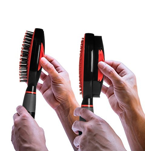 Self Cleaning Hair Brush - Easy Clean Detangle Brush or Comb - Retractable Brush Detangler for Wet or Dry Hair - Adults & Kids - by Qwik Clean - (Black/Red)