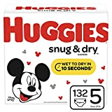 Huggies Snug & Dry Baby Diapers, Size 5 (fits 27+ lb.), 132 Count, Giant Pack (Packaging May Vary)