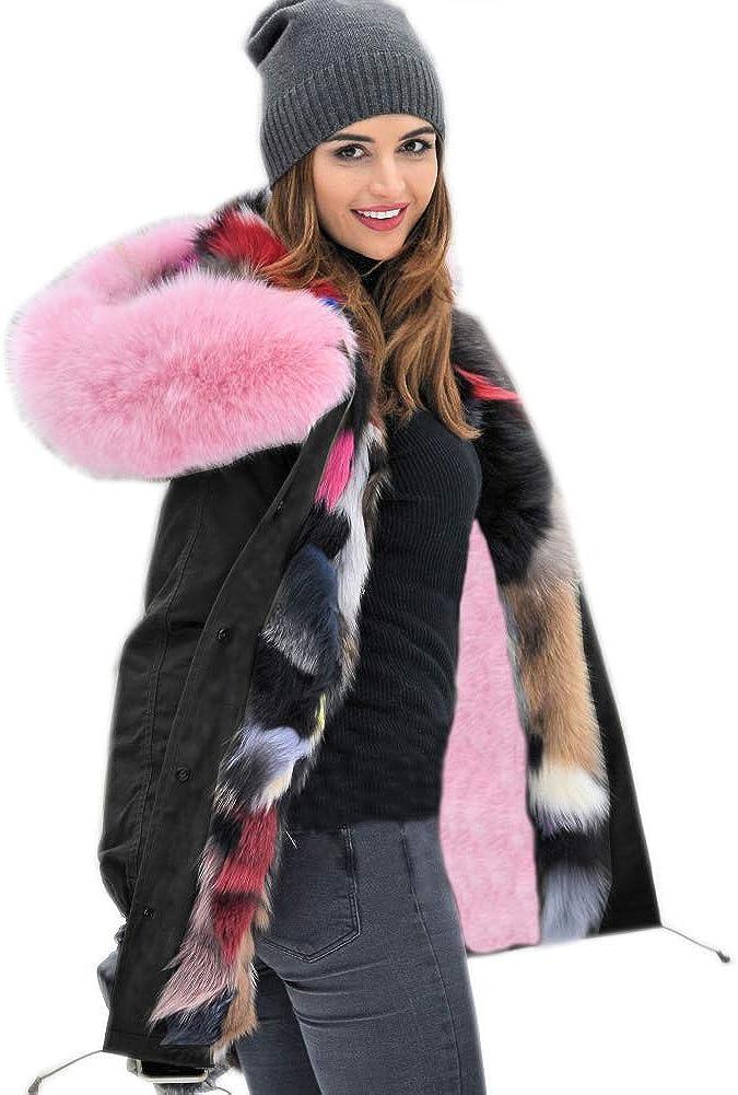 Roiii - Chaqueta con Capucha para Mujer, Gruesa, Abrigo de Invierno Largo, Talla Grande, Tallas 36 a 46 201707 Black 42
