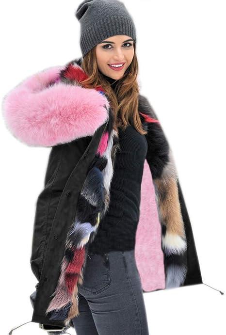 Roiii Sudaderas con capucha para mujer, chaqueta gruesa de invierno, chaqueta larga, talla grande 8 – 14 – 18 201707 Negro 42