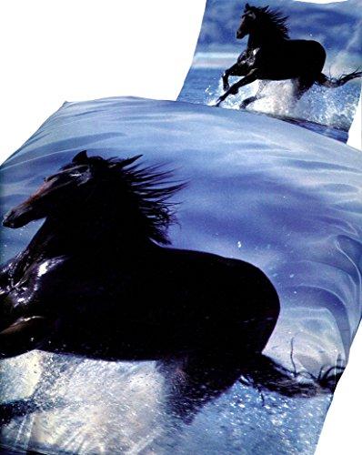 Bettwäsche 135x200 Pferd im Wasser Fotodruk Microfaser blau/schwarz Bettbezug Kissen Aktion Set Neu Premiumdruck