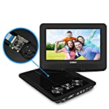 Portable DVD Player, SYNAGY 9'' Personal DVD Player for Car, with 270 Degree Swivel Screen and Rechargeable Battery (Black)