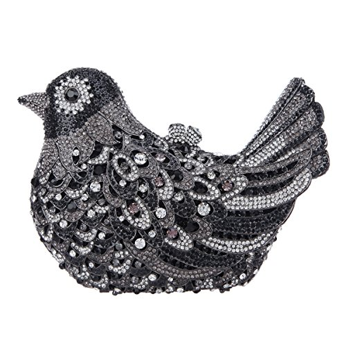 Glitter Bird Black Evening Blue Purses For Clutch Rhinestone Girls Bonjanvye Bag POdyqCC